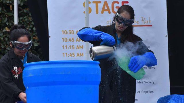 Reuben H. Fleet Science Center personnel prepare a liquid nitrogen explosion.