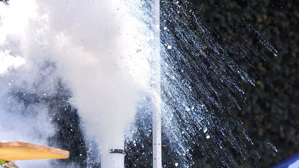 Liquid nitrogen explodes in a General Atomics demonstration.