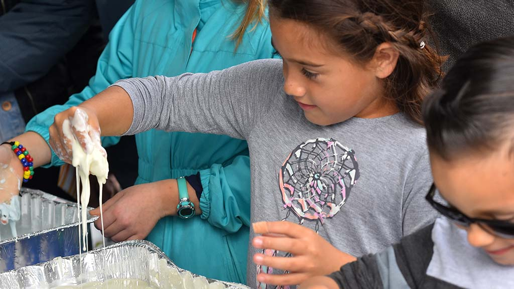 Capri Orozco gets into the Ooblek, a non-newtonian fluid, at the Association for Women in Science booth. Photo by Chris Stone