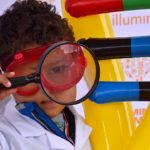 Thomas Pradel, 3, is dressed as a budding scientist at the EXPO Day of the San Diego Festival of Science & Engineering.