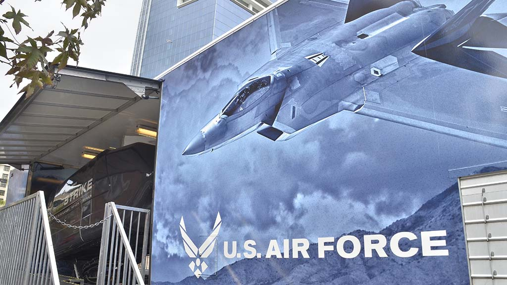 "A new exhibit allowed visitors onto U.S. Air Force's ""RapidStrike"" simulator."