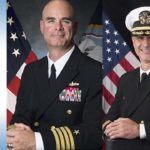 "Navy captains nominated to be rear admirals Brendan R. McLane (left) and Douglas ""V8"" Verissimo."