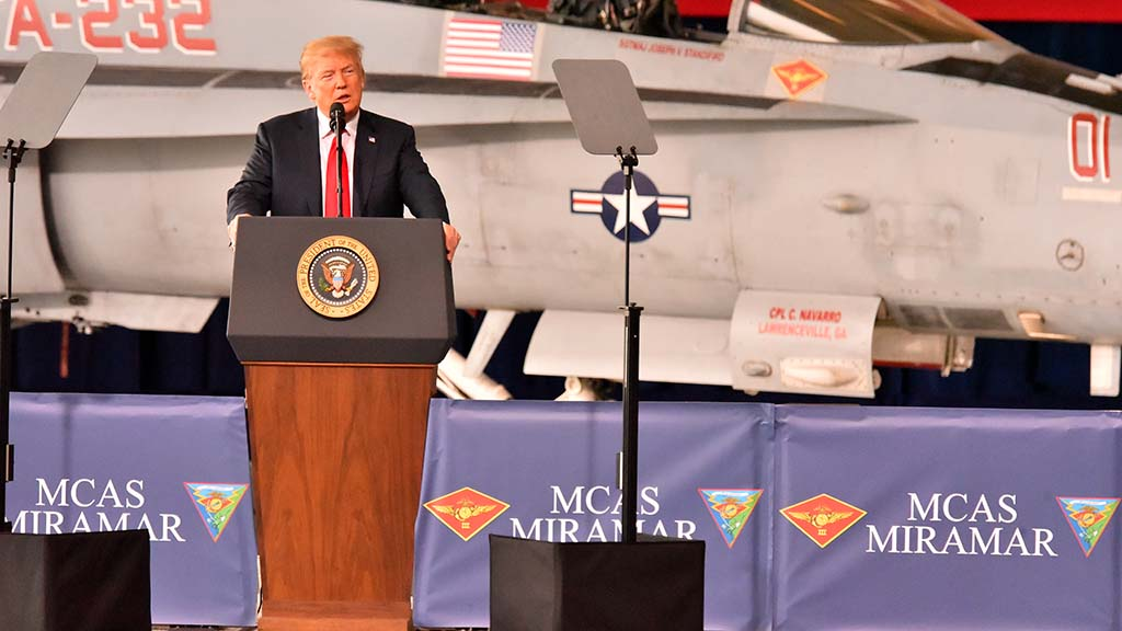 President Trump spoke in front of a F/A-18 Hornet.