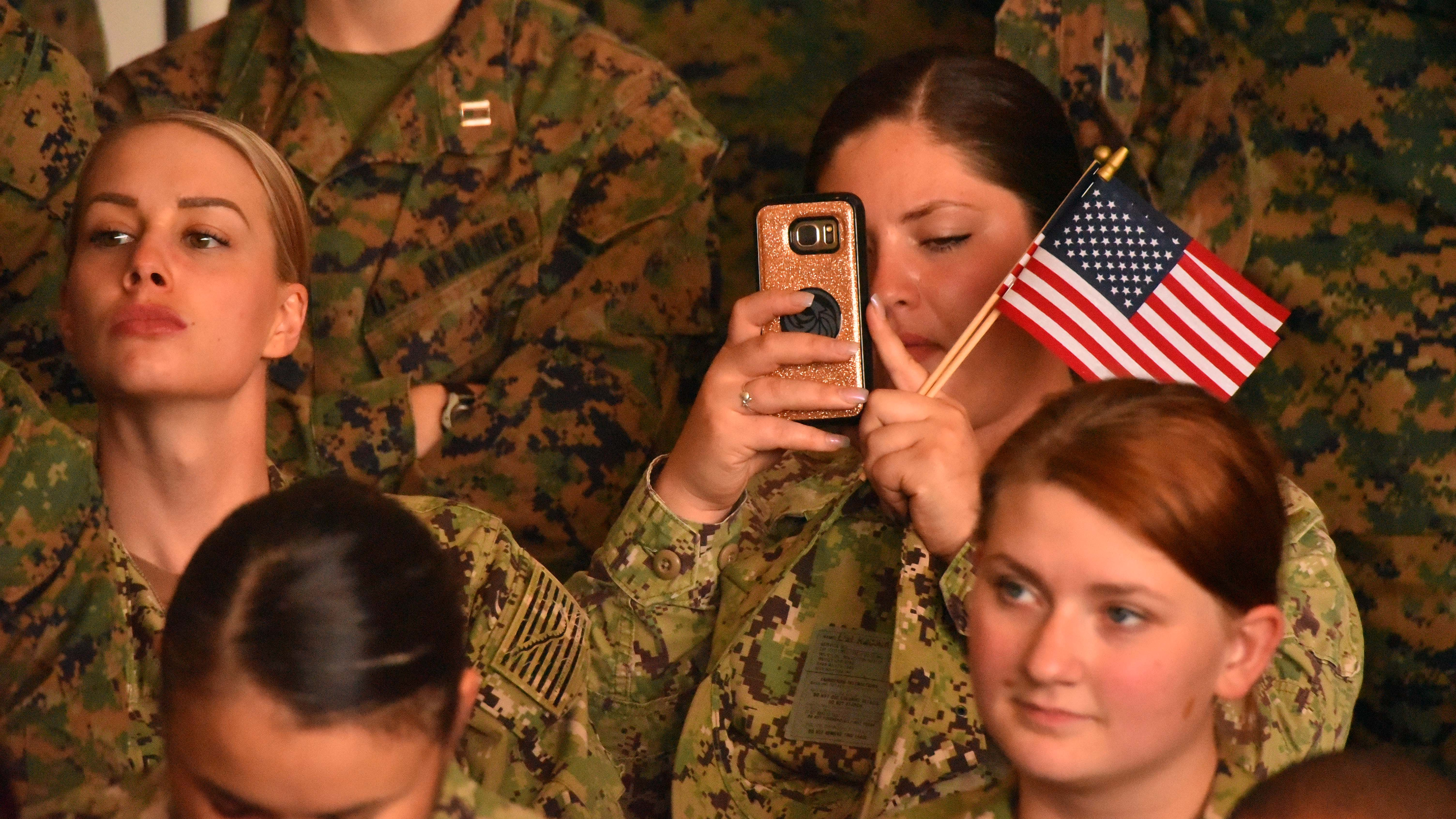 Double-flag bearing Marine recorded President Trump at MCAS Miramar.
