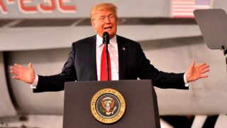 President Trump gave shout-outs to Marine leaders and even the late John Glenn.