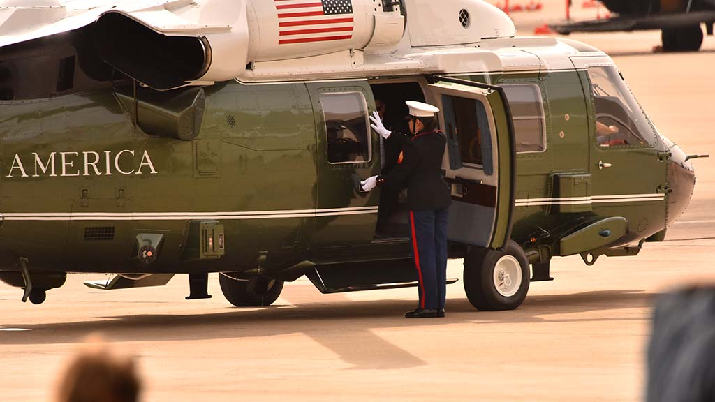 Door to Marine One was opened just after president's arrival at MCAS Miramar.