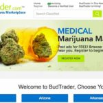 Homepage of BudTrader.com, medical marijuana marketplace