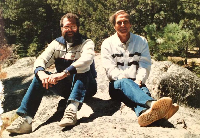 Dick Held (left) with brother Bud in the Sierra Mountains in the 1970s.