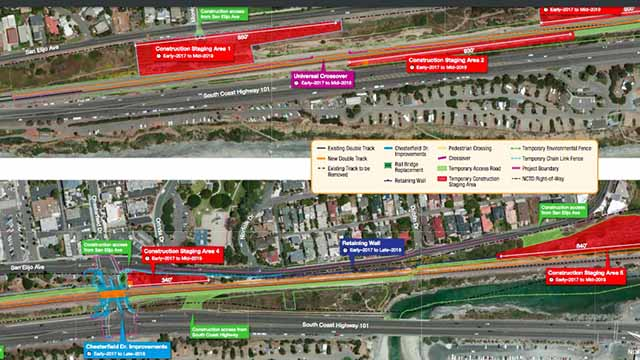 Map of Encinitas rail work. Image via SANDAG
