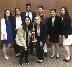 UCSD mock-trial team with recent trophy.