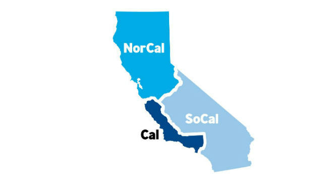 California divided into three states