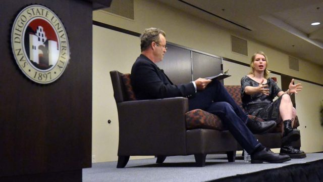 Mark Wheeler, associate professor of philosophy, moderates session with Chelsea Manning