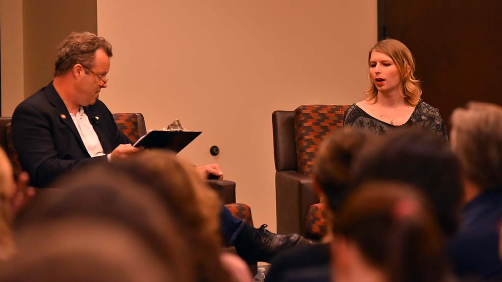 Chelsea Manning answers questions asked by Mark Wheeler, associate professor of philosophy.