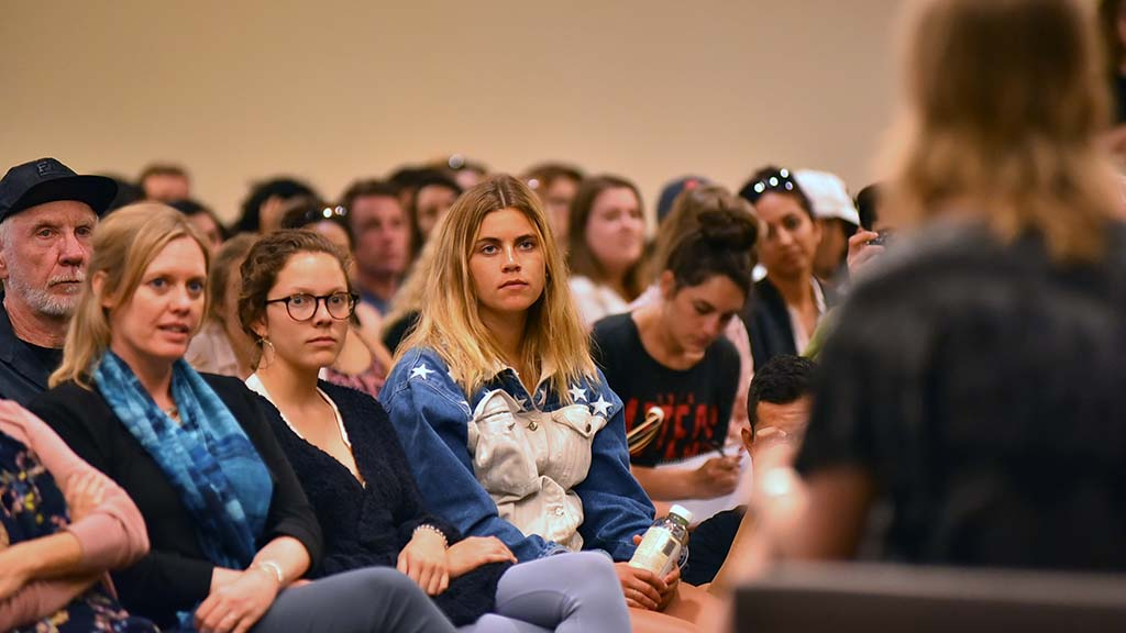 Students and professors attend a question and answer session with Chelsea Manning at SDSU.