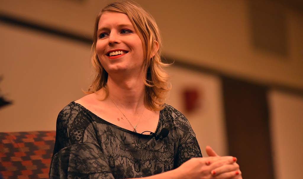 Chelsea Manning answers questions during a 70-minute session at SDSU.