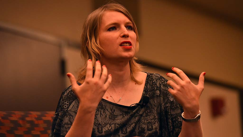 Chelsea Manning spoke to hundreds of people, mostly college students, about her fears of data collecting.