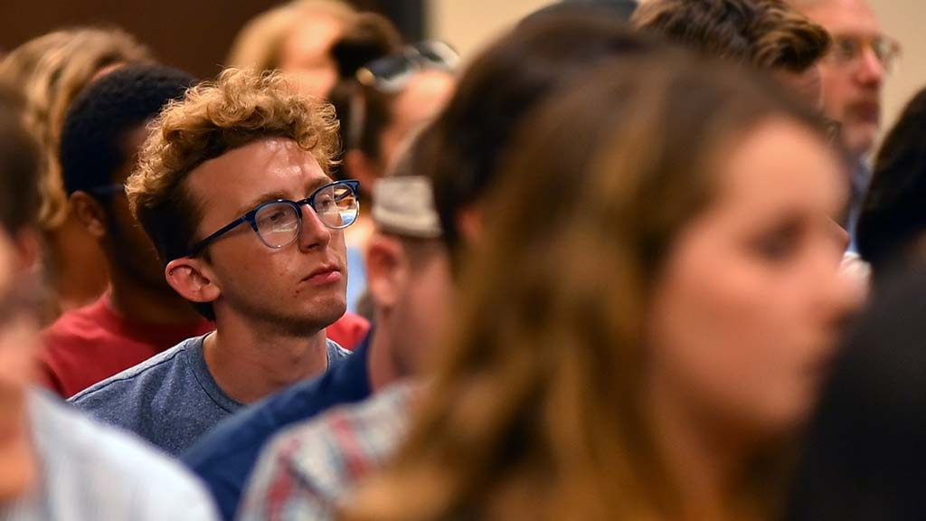 Students listened intently to Chelsea Manning's answers.