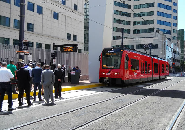 Orange Line trolley outside Courthouse Station