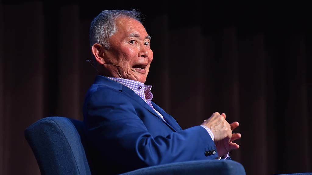 "George Takei says his signature ""Oh, my,"" to the audience's delight."