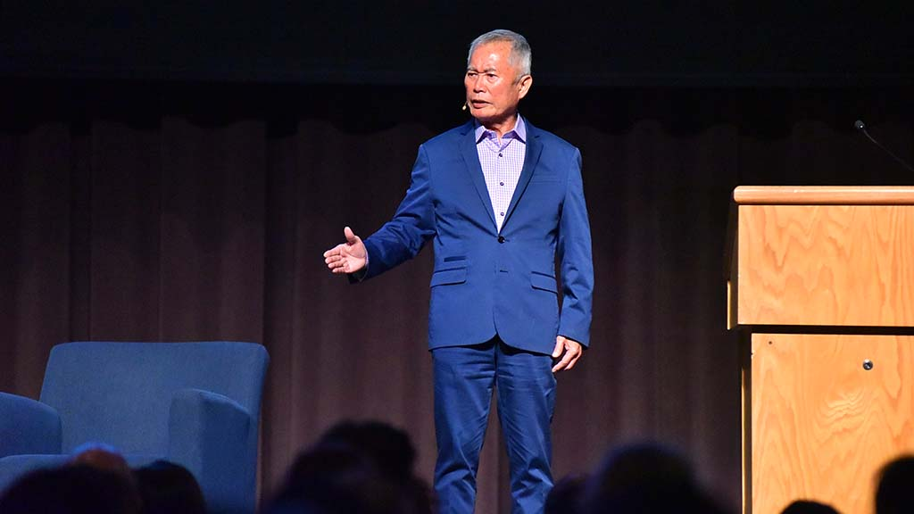 Actor-Activist George Takei spoke of the pain of internment of Japanese-Americans during World War II.