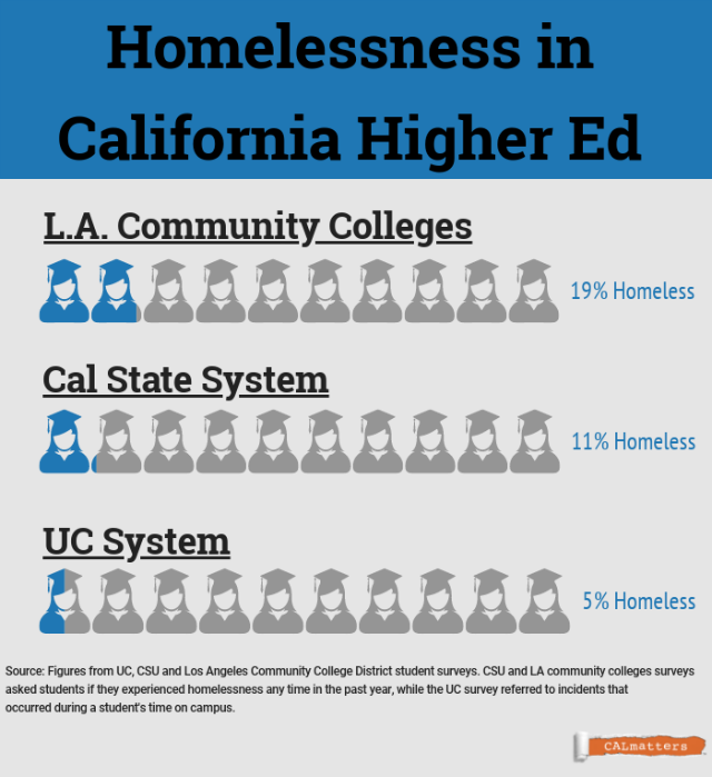 Chart detailing homelessness among students