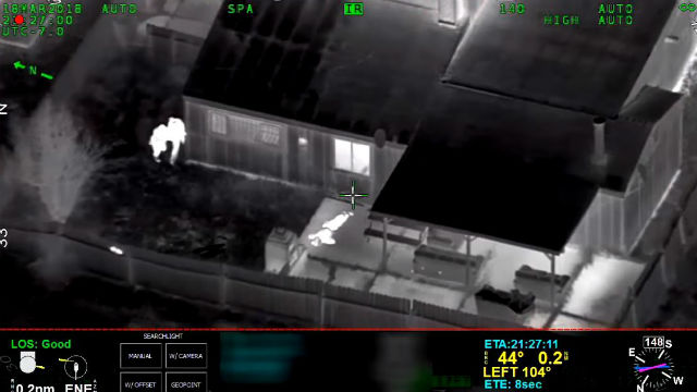Infrared image from helicopter of Stephon Clark's body