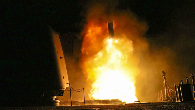 Tomahawk blasts off from USS Monterey