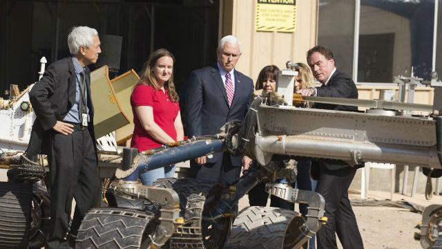 Mike Pence views Mars rover