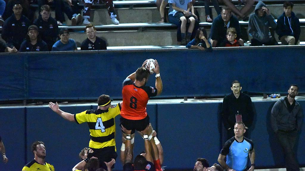 A Legion members gets the ball in a line-out throw.