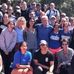 Steve Scott (center in blue) built the CSU San Marcos track and cross country teams into NAIA powerhouses.