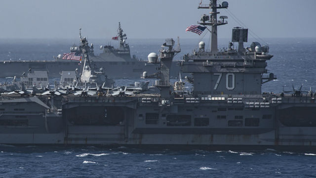 USS Carl Vinson with USS Wayne E. Meyer and a Japanese ship