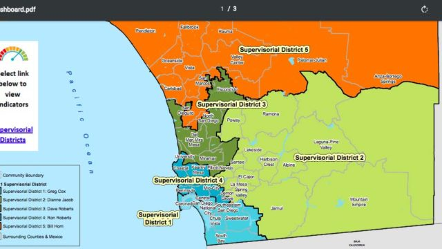 Map shows District 5 of San Diego County in orange.