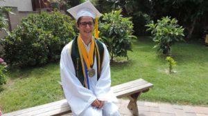 Mark Gaunin in his Mar Vista High School graduation robe as 2017 valedictorian.