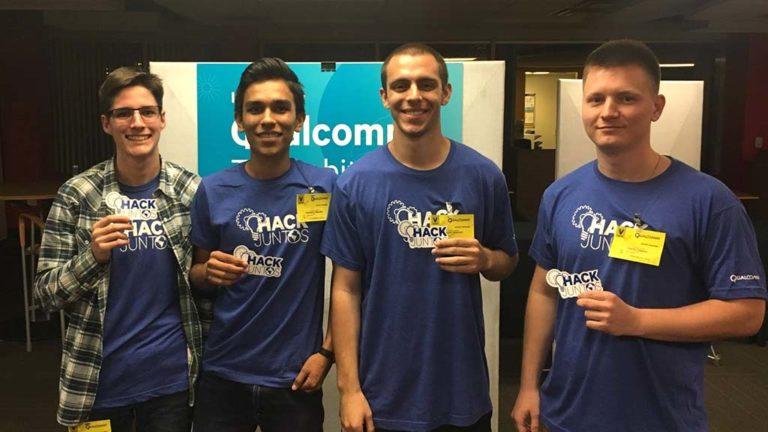 Mark Gaunin (left) and teammates at the Qualcomm Thinkabit Lab hackathon.