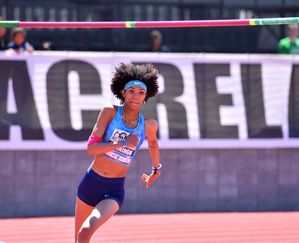 Vashti Cunningham eyes bar on way to winning the invitational high jump at Mt. SAC Relays.