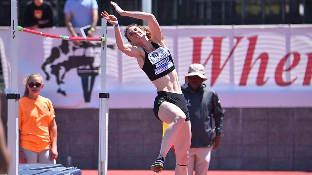 Amber Melville took sixth in the invitational high jump — clearing 6-0 at the Mt. SAC Relays.