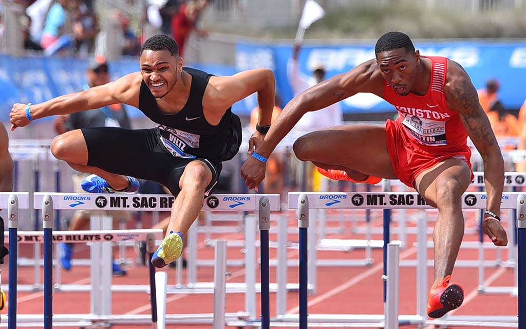 Misana Viltz battles Amere Lattin of Houston in the 110-meter hurdles at Mt. SAC Relays.
