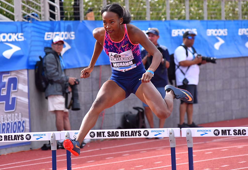 Dalilah Muhammad, the Rio Olympic champion, wins Mt. SAC Relays 400-meter hurdles in 55.25 seconds.