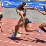 Allyson Felix hands off to Destinee Brown an an All Star 4x100 relay at Mt. SAC Relays.