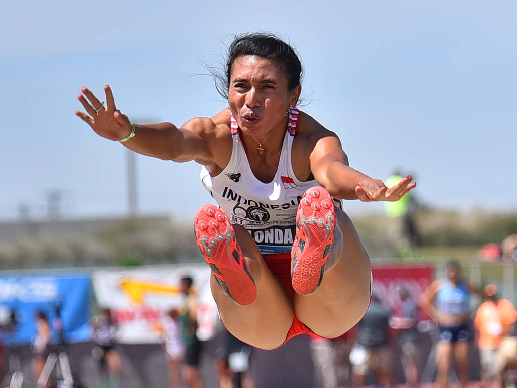 Maria Natalia Londa of Indonesia takes fourth in the Mt. SAC invitational long jump.