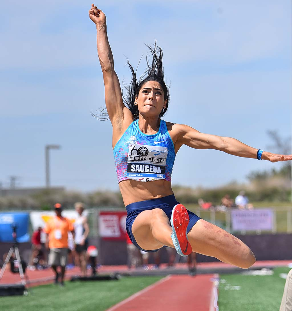 Jessamyn Sauceda takes second in the Mt. SAC Relays invitational long jump.
