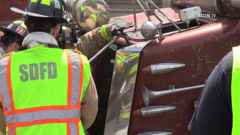 Big-rig flips on Balboa Avenue