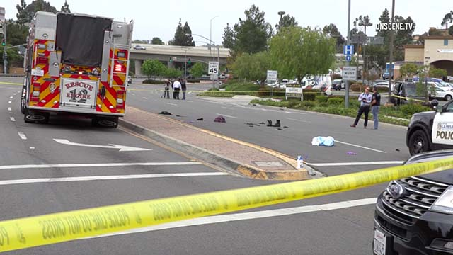 Scene of La Mesa officer-involved shooting at Amaya Drive and Fletcher Parkway.