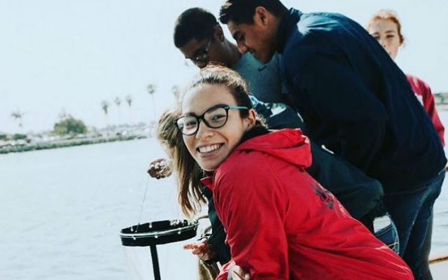 Students studying the ocean