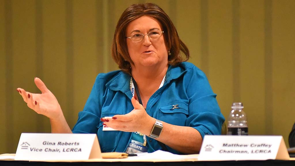 Gina Roberts, vice chair of the Log Cabin Republicans, spoke at a meeting. Photo by Chris Stone