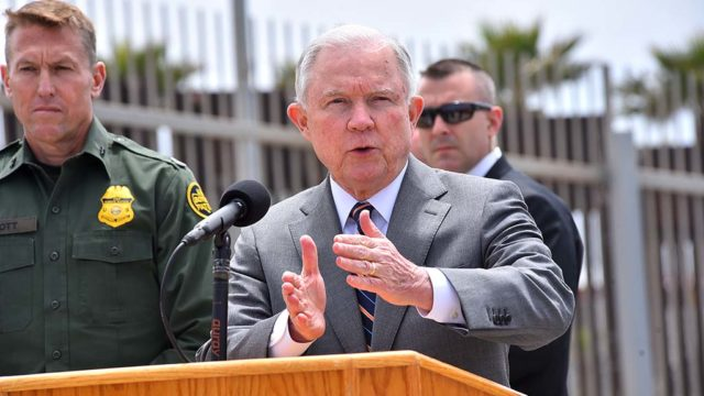 Attorney General Jeff Sessions speaks at Border Field State Park.