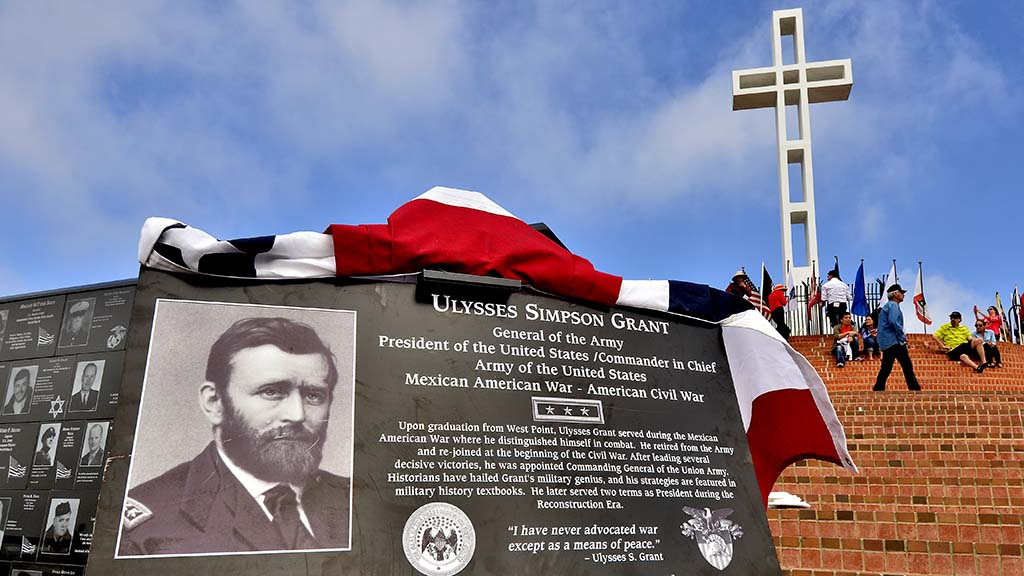 A new plaque honoring General Ulysses Grant was unveiled during the ceremony at Mt. Soledad National Veterans Memorial.
