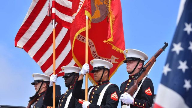 The Marine Color Guard presented the colors at Mt. Soledad National Veterans Memorial.