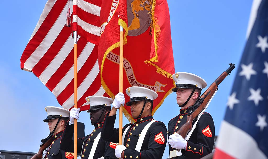 The Marine Color Guard presented the colors at Mt. Soledad National Veterans Memorial.