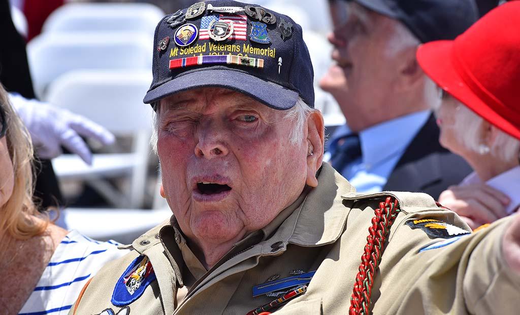 Bill Galbraith told visitors his World War II story at Mount Soledad National Veterans Memorial.
